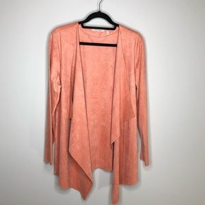 Soft Surroundings Pink Faux Suede Open Cardigan